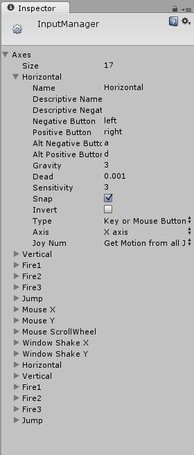 """Opciones sobre controles """"InputManager"""" de Unity 3D"""